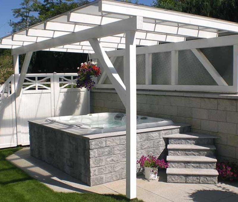 Installation Sundance Spa White Backyard Edmonton