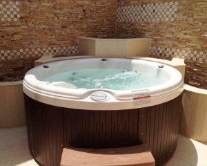 Elegant hot tub installation.