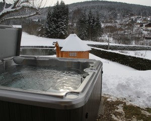 Outdoor hot tub during the winter in Edmonton.