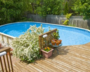 Above-ground pool installation in the spring.